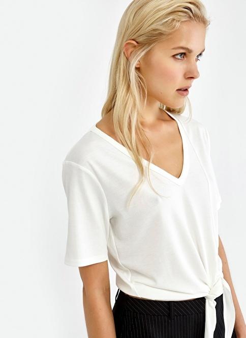Ipekyol Beli Bağlamalı V Yaka Bluz Beyaz